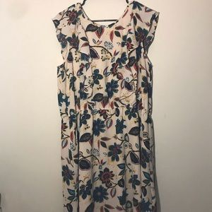 A New Day Plus Size Ruffle Cream Floral Dress xXl